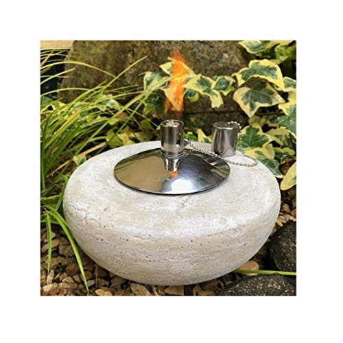 Gartenfackel Ölfackel Tischfackel Öllampe Garten Fackel Tischlampe Steinguss mit Edelstahl Ölbehälter 85ml, ca.2,7 kg schwer (Design Rund)