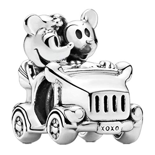 Annmors Disney Mickey and Minnie Vintage Car Charm for Bracelets-925 Sterling Silver Openwork Bead Charms,Charms for Bracelets and Necklaces,Gifts for Women Girls