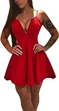 TOB Women's Sexy Pleated Sleeveless Spaghetti Strap Mini Club Dress