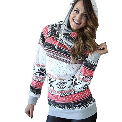 Kerstmis kleding Dasongff vrouwen lange mouwen Kerstmis hoodie sweatshirt sneeuwvlok print capuchon pullover hoodie blouse bovendeel met ritssluiting