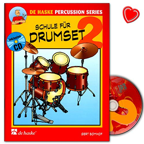 Escuela para batería Band 2 – técnicas y reglas básicas – 9789043110099 – con colorido clip para partituras en forma de corazón