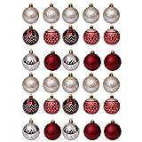 PRETYZOOM 30 Piezas Conjunto de Bolas de Navidad Rojo Plata Dorado Árbol de Navidad...