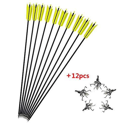 MILAEM 12 stücke 30 Zoll Bogenschießen Carbon Pfeile Flu Flu Pfeil Spine 400 mit 4 Türkei Federn Austauschbare Jagdspitzen für Compound Recurve Bogenjagd (Gelb + Broadheads)