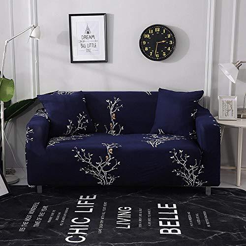 Funda Sofá 145-185 cm con Funda de Cojín de 2 Piezas 45x45 cm (Pack de 3), Poliéster Stretch Cubre Sofá Funda Protector Antideslizante Sofa Couch Cover (Azul Marino/2 Asientos)