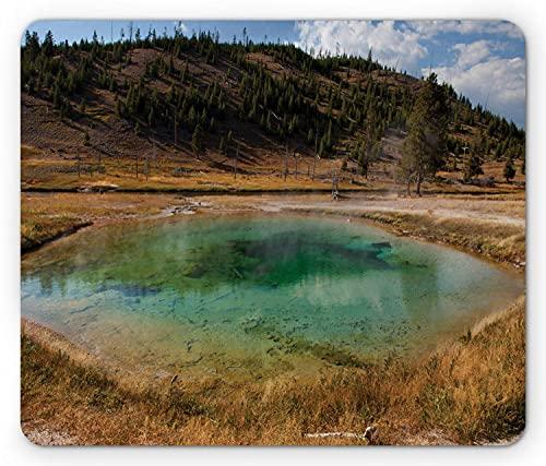 Alfombrilla de ratón Yellowstone, Piscina de neumáticos en The Fairy Falls Hot Spring Pond Sulphur Volcano Water Photo, Alfombrilla Rectangular de Goma Antideslizante, Multicolor estándar