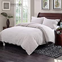 Simple&Opulence 100% Washed Linen Solid Coconut Button Closure Bedding Set with 1 Duvet Cover 2 Pillowcases (King, Linen)