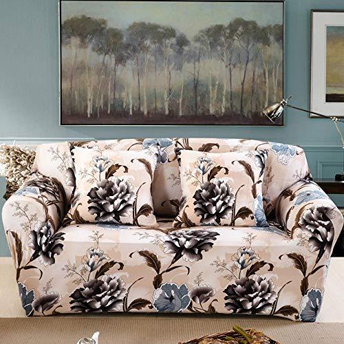 NIASGQW Funda para Sofá Elasticas de 2 Plazas -Lmpresión Floral Fundas Decorativas para sofás(Gratis 2 Funda de Cojines) Universal Muebles Fundas Decorativas para Sofás -Flor de peonía Vintage