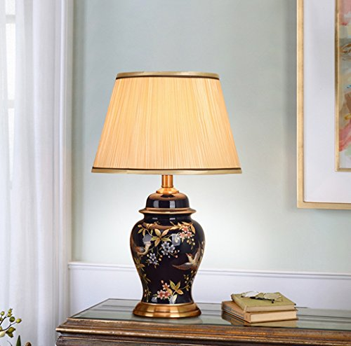 Keramik Tischlampe, (7321) Chinesisch Mandarin Stil Perfekt für alle Wohnzimmer und Schlafzimmer Porzellan Tischlampe - hervorragende Qualität (Farbe : Schalter)