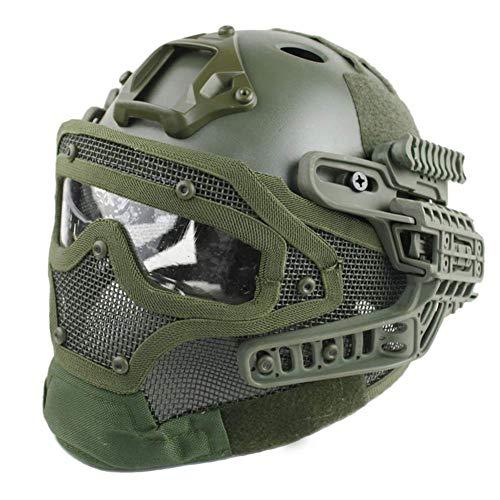Gowing Unisex-Taktikhelm, Stahldrahtmaske, ABS Leichter Vollgesichts-G4-System- / PJ-Helm mit Abnehmbarer Schutzbrille, für Air Gun Paintball-Jagdschieß-CS-Spiel,C
