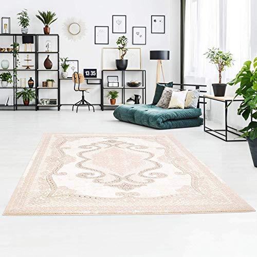 carpet city Klassischer Teppich aus Polyester mit Ornamenten, Floralen Verzierungen in Beige für Wohnzimmer; Größe: 200x290 cm