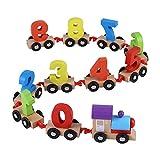 Juego de Trenes de Madera de 11 Piezas, Tren de Madera con Forma de número de Juguete Juguetes educativos de Aprendizaje temprano niños pequeños niños y niñas
