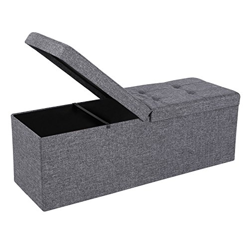 SONGMICS Fabric Ottoman, Footstool with Storage, Shoe Bench, Extra Seat, 43' x 15' x 15', Collapsible