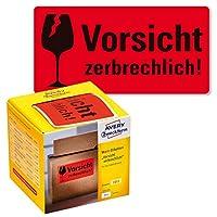 Avery Zweckform 警告ステッカー 7211 「Vorsicht Zerbrechlich」 [ドイツ語製品] ネオンレッド 100 x 50 mm 200ラベル ロール入り ボックスディスペンサー