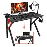Mr IRONSTONE Gaming Desk 45.2' W x 23.6' D Home Office Computer Desk, Gamer Workstation with Socket of 3-Outlet & 2 USB Ports, Cup Holder, Headphone Hook and Cable Management (Red)