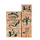 Wooden Rubber Stamp Set, NogaMoga 6 pcs Animal Rubber Seal with Cute Patterns, Wood Mounted Decorative Stamps for DIY, Scrapbooking Craft, Gift Wrapping and Cards