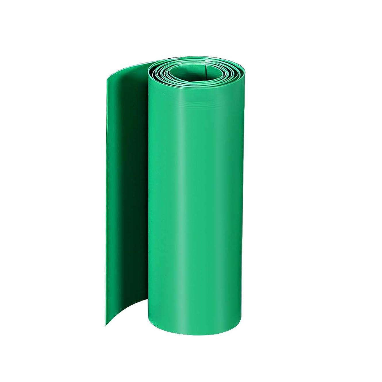 表面混合現金uxcell PVC熱収縮チューブ 160mmフラット幅 3 M ラップ デュアルレイヤー18650用 グリーン