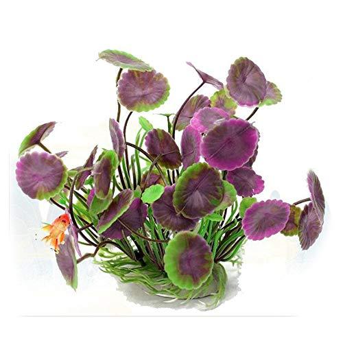 VOANZO Paquete de 5 plantas artificiales para acuario, tamaño pequeño, decoración para el hogar, plástico, color morado
