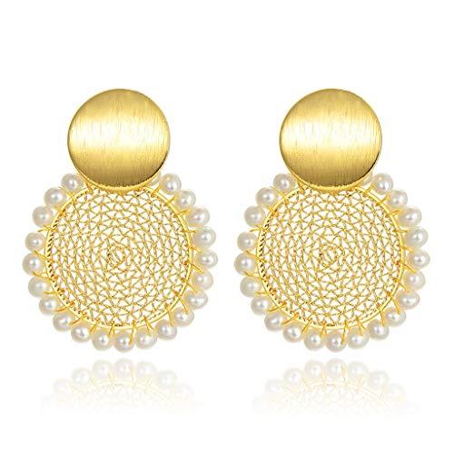 OMING Arete Pendientes del Temperamento Damas Pendientes de Perlas de época barroca Prima la adición Cualquier Persona Declaración de joyería de Moda y Delicado Pendiente de Perlas de Cristal