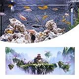 SALUTUYA Decoración de Tanques de Peces con Paisaje de ensueño, póster de Tanque de Peces, patrón de Castillo de Cielo para Acuario, Varios tamaños(61 * 41cm)