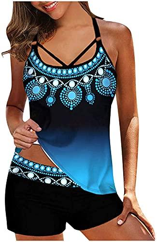 LINGZE Damen Polka Bikini Kleid Plus Size Bademode Retro Beachwear Neckholder-Badeanzug mit Boyshort Badekostüm Schlitz-Badekleid Rocked Swimsuit