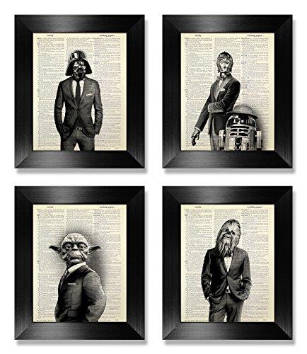 Funny Star Wars Print Set of 4, Star Wars Wall Art