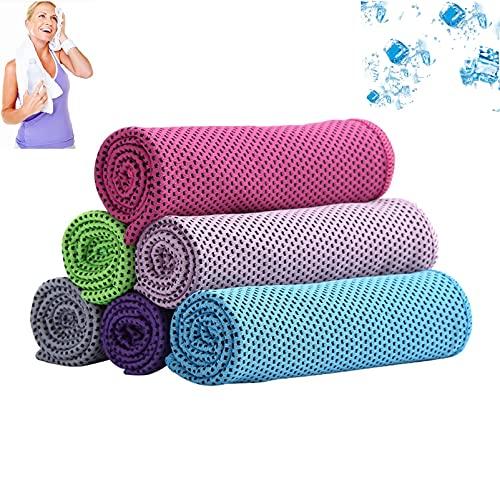Asciugamano rinfrescante 6 confezioni, asciugamano sportivo collo fascia bandana sciarpa per sollievo istantaneo Resta fresco con panno in microfibra freddo per yoga, golf, palestra, campeggio, corsa,