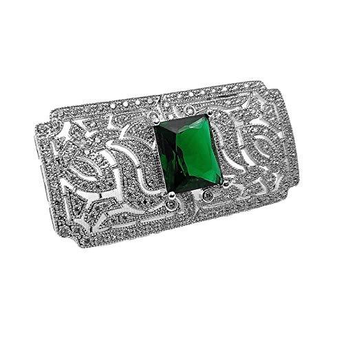 QPODGQ Broche Broches En Forma De Rect¨¢ngulo Art Deco con C¨²pula De Piedra Verde, Alfileres para Mujer, Chal, Traje De Negocios, Vestido Formal