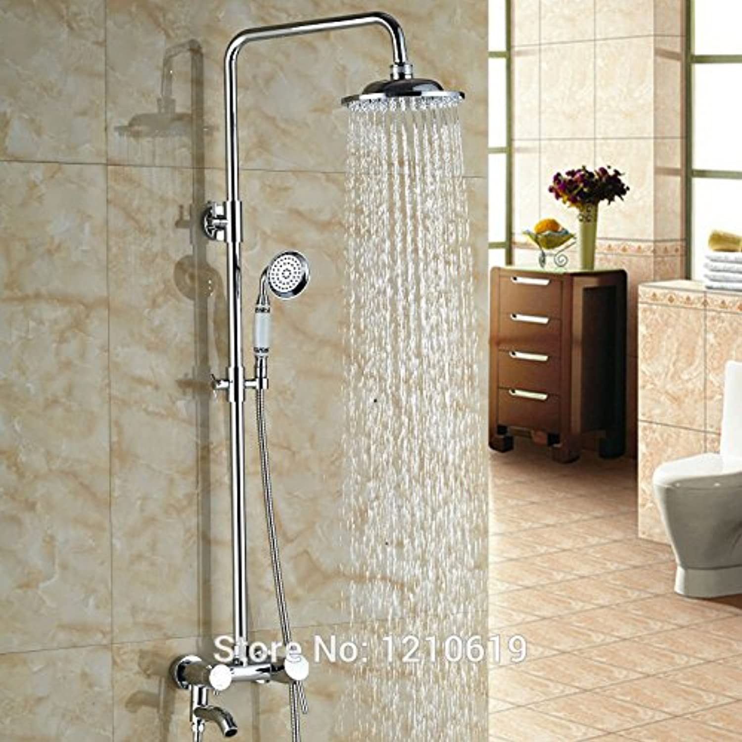 Newly Chrome Finished 8 Inch Shower Faucet Set w Ceramic Handheld Shower Wall Mount Shower Mixer Tap Single Handle,Multi