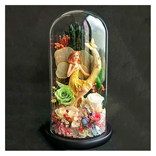 YJPDPYSH Creatieve Maan Engel Eeuwige Bloem Glas Cover Cadeaudoos, Zeemeermin Pop Decoratie, Houd Bloemen, Stuur Vriendin Droog Boeket