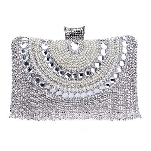 Liansheng Bolso del Vestido de Noche de Las señoras Bolso de Embrague Partido Bolso Flash Taladro Borla Mini Billetera (Color : Silver)