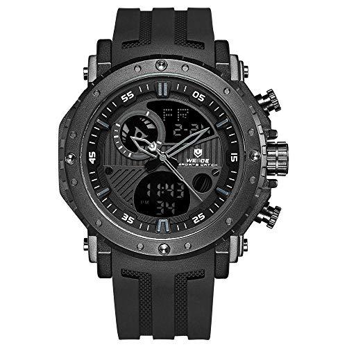 Lepeuxi WEIDE WH6903 - Reloj Digital Doble de Cuarzo para Hombre, 3 ATM, Impermeable, Deporte, Semana, Meses, automático, Fecha, Hora, Alarma, cronómetro, 24 Horas SPL Tiempo