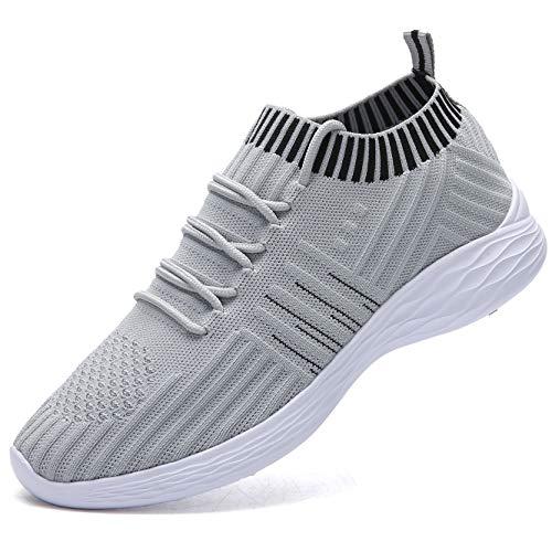 Nasonberg Schuhe Sneaker Damen Leichte Laufschuhe Turnschuhe Atmungsaktive Sportschuhe Grau 39 EU
