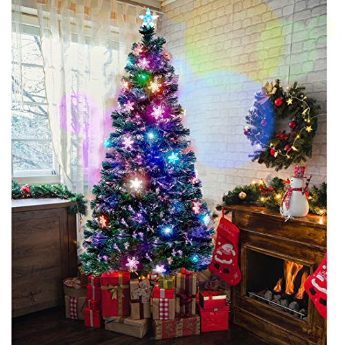 Juegoal 6 ft Pre-Lit Optical Fiber Christmas Artificial Tree, with LED RGB Color Changing Led Lights, Snowflakes and Top Star, Festive Party Holiday Fake Multicolored Xmas Tree with Durable Metal Legs