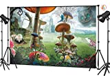 LB 7x5ft Alice in Wonderland Backdrop, Vinyl Custom Fantasy Fairy Forest Castle Mushroom Backdrops for Photography Kids Adult Portrait Photo Booth Studio Props