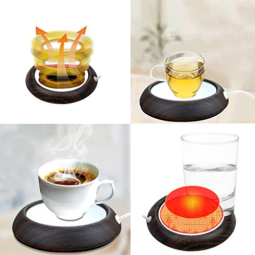 Cup Warmer, USB Coffee Mug Electric Heater Plate, Desktop Keep Warm Beverage & Tea Shaker, Waterproof Glass Panel Heated with 35.5 Inches Long USB Great for Office & Home