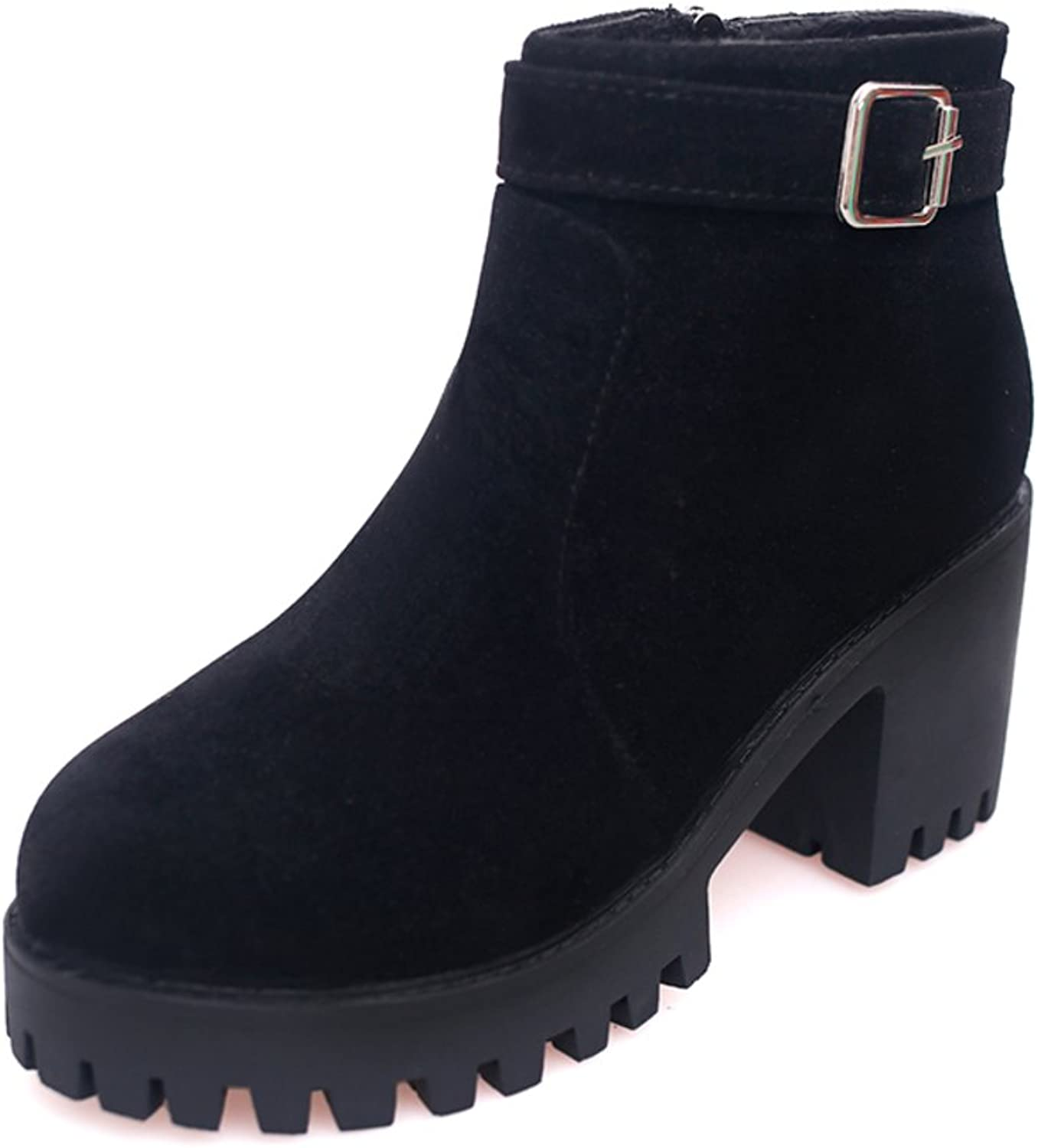 Students in autumn and winter shoes round-headed high heel boots Martin British wind ankle boots Platform chunky heels short boots Short boots
