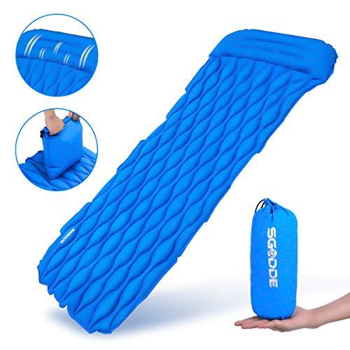 SGODDE Isomatte,Ultraleicht dick Luftmatratze,Tragbare Aufblasbare Matratzen mit Kissen,wasserdicht und rutschfest Schlafmatte,für Wandern,Reise,Outdoor,Camping (Dunkel blau(Airbag enthalten))