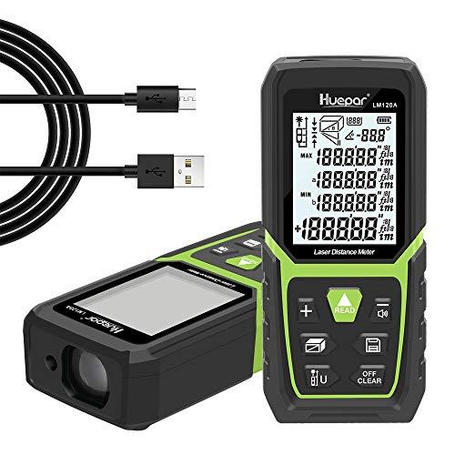 Huepar Laser Distance Measure 393Ft/120M with Li-ion Battery&Electric Angle Sensor, Backlit LCD Laser Measure M/In/Ft with Multi-Measurement Modes, Pythagorean, Distance, Area&Volume-LM120A Indoor Use