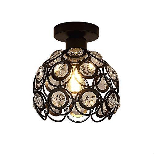 Crystal Chandelier verlichting, inbouw plafond licht, Modern Chandelier verlichtingsarmatuur for Slaapkamer, Hal, bar, keuken, badkamer (Color : Black)