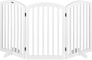 """Bonnlo Free Standing 30"""" Tall Dog Gates for Doorways Indoor Stairs Wooden 3 Panel Pet Gate Christmas Tree Fence 