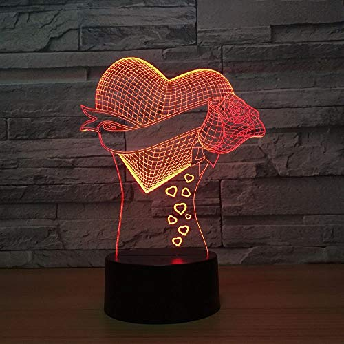 ZJBD YUMEI 3D Illusion Lamp, New Heart Lamp 7 Color Led Night Lamps for Kids Led USB Table Baby Sleeping Room Lamp-Touch (Color : Touch)