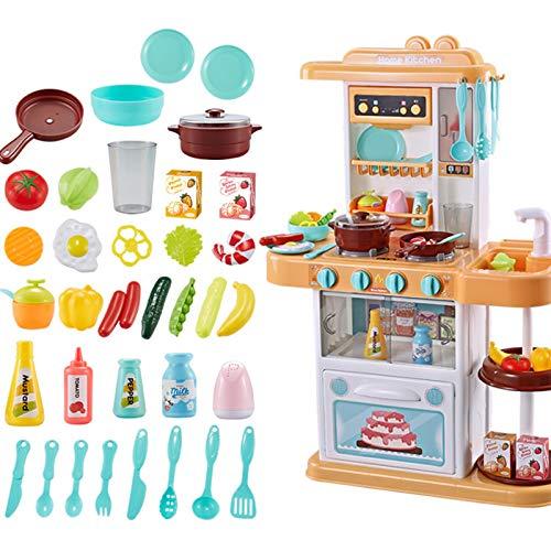 Juguete de Cocina para Niños con 38 Accesorios, Cocinita de Juguete Little Chef,Juguete de Regalo para Niños y Niñas de 3 Años y Más (Amarillo Claro)