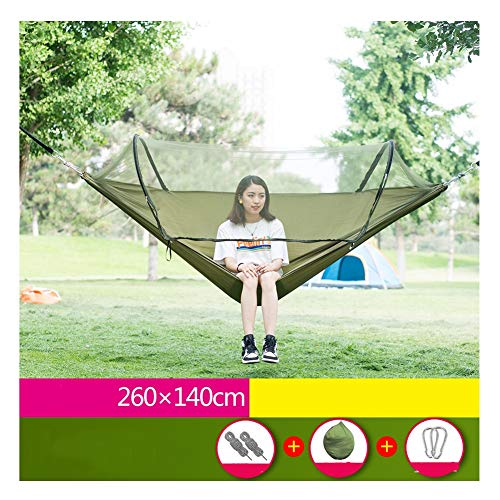 Portable Outdoor Camping Hammock with Mosquito Net High Strength Parachute Fabric Hanging Bed Hunting Sleeping Swing (Color : Army Green)
