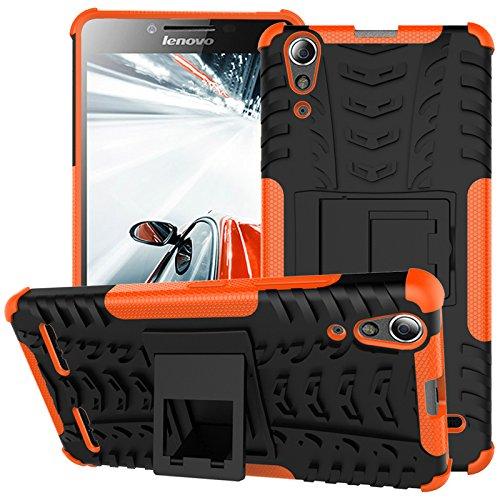 TiHen Handyhülle für Lenovo K3/A6000 Hülle, 360 Grad Ganzkörper Schutzhülle + Panzerglas Schutzfolie 2 Stück Stoßfest zhülle Handys Tasche Bumper Hülle Cover Skin mit Ständer -Orange