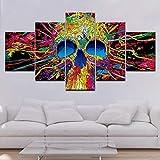 Pintura enmarcada Líneas de calaveras coloridas Pintura de grupo Decoración de la habitación Impresión de póster Imagen Lienzo Pintura de bailarina de flamenco-30x40cm-30x60cm-30x80cm-Sin marco