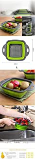 NEXCURIO Collapsible Silicon Kitchen Colander Strainer, Food-Grade Silicone kitchen Strainer Space-Saver Folding for Drain...