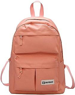 Wultia - Bags for Women Couple Schoolbag Travel Hiking Bag Solid Backpack Collection Luminous Bag Bolsa Feminina Pink