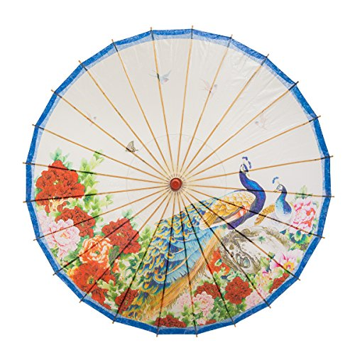 THY COLLECTIBLES Rainproof Handmade Chinese Oiled Paper Umbrella Parasol 33' Peacock & Peony