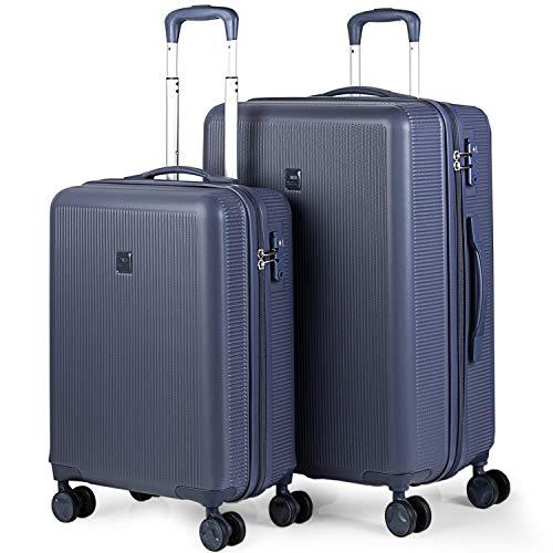 JASLEN - Set 2 valigie trolley in ABS strutturato 50/60 cm. Rigido, resistente e leggero. 4 ruote doppie Lucchetto TSA. Piccolo basso costo 171015, Color Blu