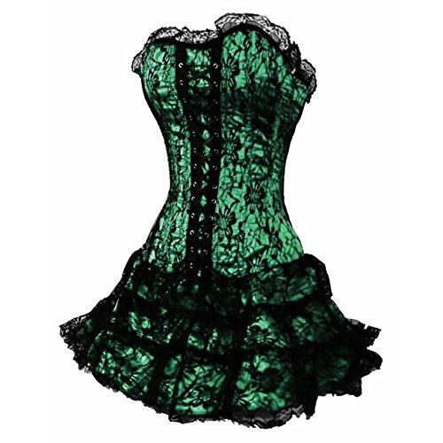 DISSA Gothic Lace Trim Damen Corsage Korsett mit G-String,Grün,M